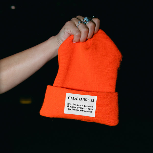 Galatians Blaze Orange Winter Beanie