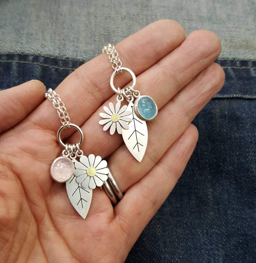 leaf and flower pendant necklaces by diana greenwood