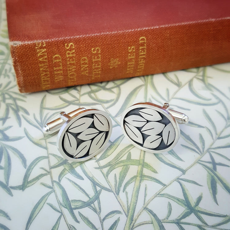 Silver leaves cufflinks