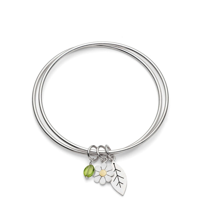 Daisy and leaf double bangle by diana greenwood