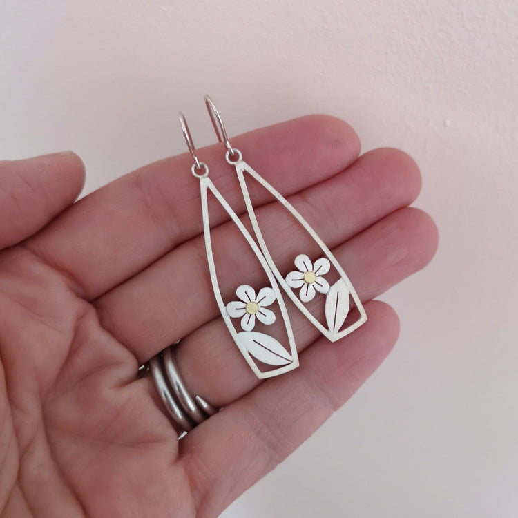 special offer - Framed Leaf and Forget Me Not Drop Earrings - Diana Greenwood Jewellery