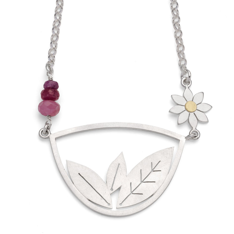 Framed leaves and dahlia necklace