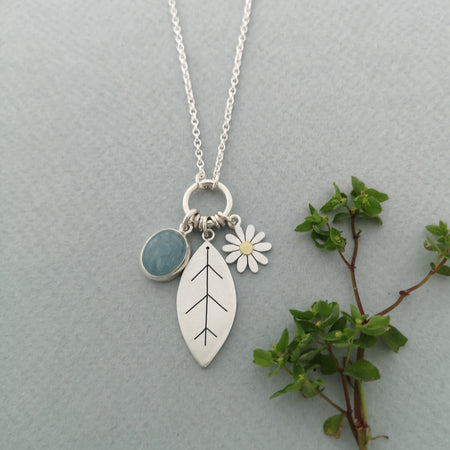 aster flower and aquamarine necklace by diana greenwood jewellery