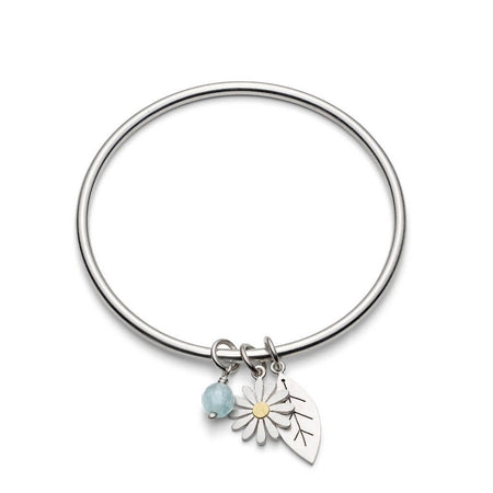aster flower and leaf bangle by diana greenwood