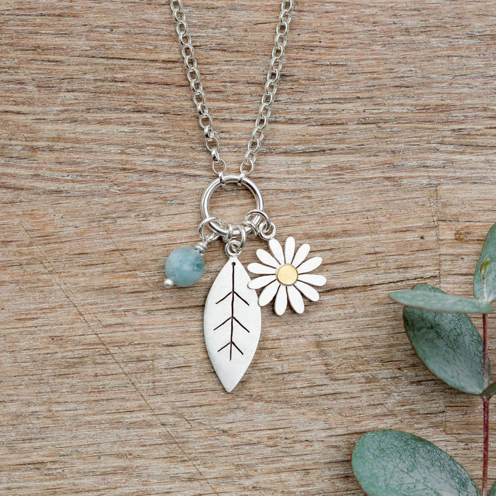 aster flower and leaf necklace by diana greenwood jewellery