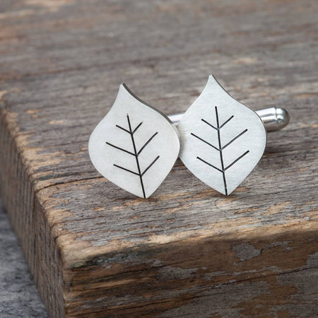 beech leaf cufflinks by diana greenwood