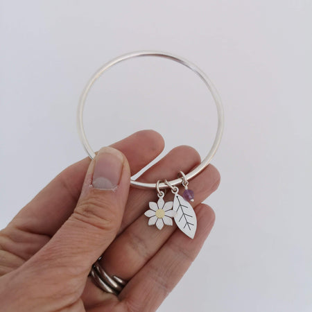Dahlia and leaf bangle by Diana Greenwood