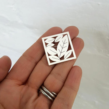 Little Leafy Square Brooch - Diana Greenwood Jewellery