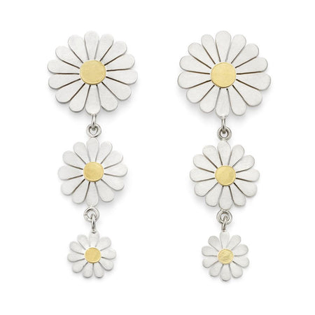 Triple daisy drop earrings - Diana Greenwood Jewellery