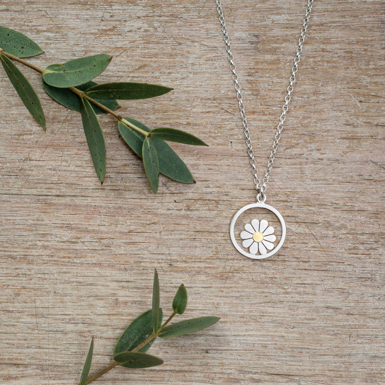 Little Daisy and Circle Pendant - Diana Greenwood Jewellery