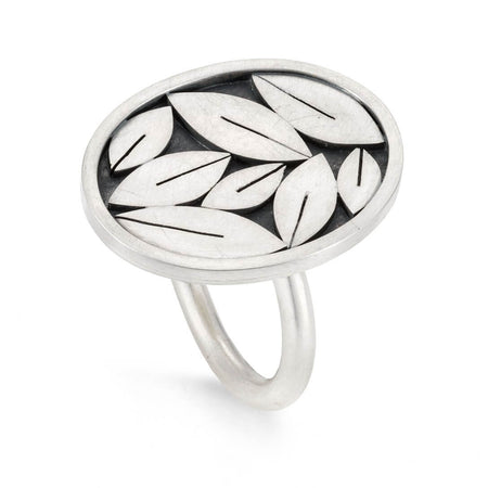 Oval silver leafy ring by Diana Greenwood
