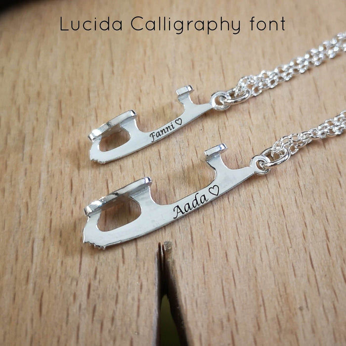 Personalised silver ice skating necklace by Diana Greenwood