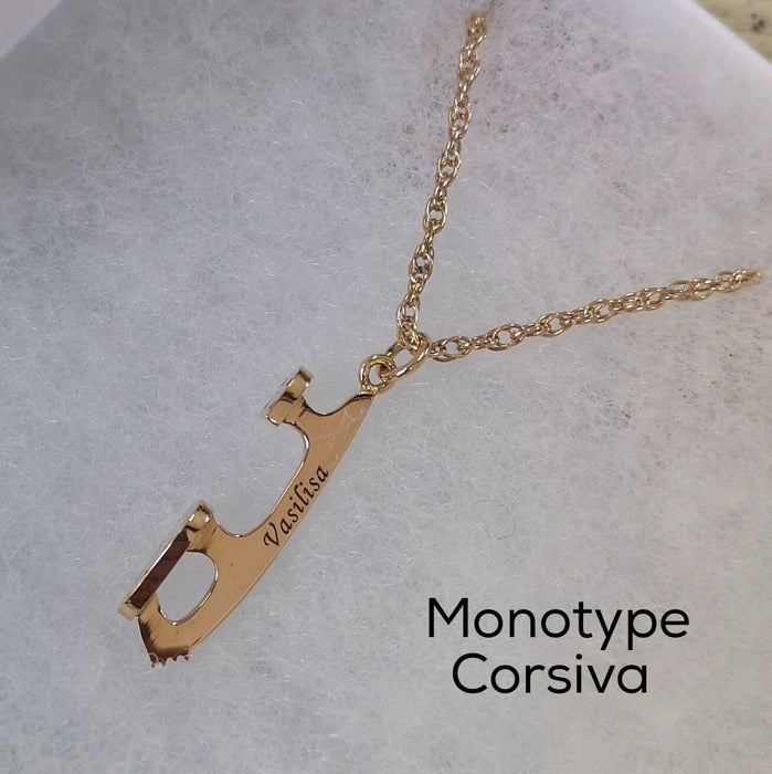 Personalised gold ice skating necklace by Diana Greenwood