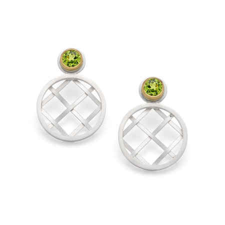 Woven earrings with peridots - Diana Greenwood Jewellery