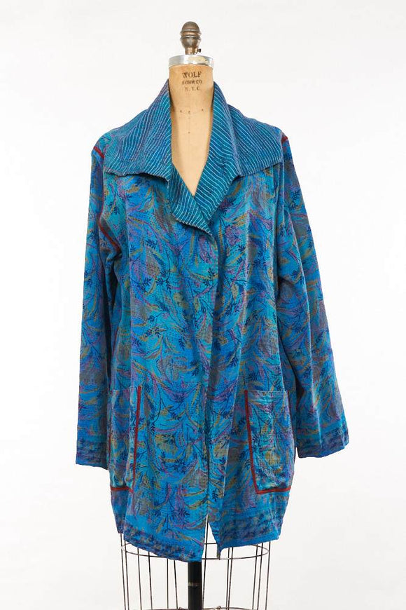KANTHA VINTAGE SILK/COTTON 2 LAYER - POCKET JACKET
