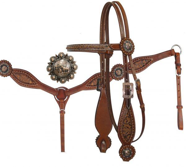 Showman ®  Headstall and Breast Collar Set with Brown Filigree Inlay and Praying Cowboy Conchos. - KP Pet Supply