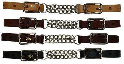 Leather end curb with double chain - Made in USA - KP Pet Supply