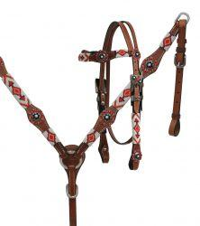 Showman ®  Red and white beaded headstall and breast collar set. - KP Pet Supply
