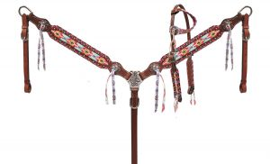 ShowMulti colored Navajo diamond print headstall and breast collar set