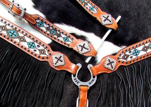 Showman ® 4 Piece beaded navajo cross headstall and breast collar set - KP Pet Supply