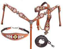Load image into Gallery viewer, Showman ®  Multi Colored beaded browband headstall and breast collar 4 piece set. - KP Pet Supply