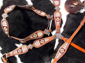 Showman ®  Multi Colored beaded browband headstall and breast collar 4 piece set. - KP Pet Supply