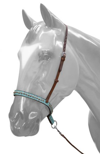 Adjustable Teal Filigree Noseband and Tie Down