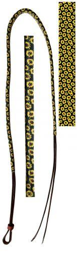 Showman® 4ft Leather over & under with leather sunflower print overlay - KP Pet Supply