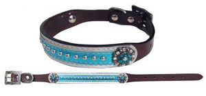 Leather Dog Collar with Metallic Teal Overlay - KP Pet Supply