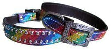 Load image into Gallery viewer, Showman Couture ™ Rainbow Glitter overlay leather dog collar. - KP Pet Supply