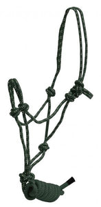 Horse size braided nylon cowboy knot rope halter with removable lead