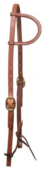 Oiled harness leather sliding one ear headstall with double buckle adjustment.