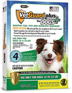 VetGuard Plus for Dogs Flea and Tick Treatment for Medium Dogs, 16-33lbs