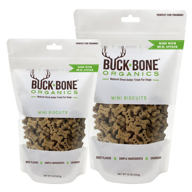 Buck Bone Organics Original Recipe Antler Dog Biscuit Mini - Perfect Training Size - KP Pet Supply
