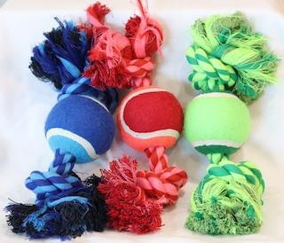 kp-pet-supply KP Pet Supply Knot Rope and Tennis Ball Dog Toy - Blue, Pink, and Green KP Pet Supply Dog
