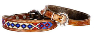 Genuine leather dog collar beaded inlay with red, white, and blue beaded inlay design and copper hardware. - KP Pet Supply
