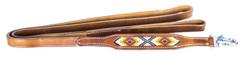 Leather Dog Leash Beaded Inlay Red, Orange, and Yellow
