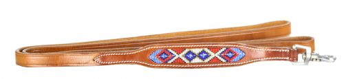 Genuine Leather Dog Leash Red, White, and Blue Beaded inlay