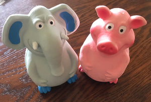 Squeaky Fun Rubber Squeaky Toy , Elephant or Pig