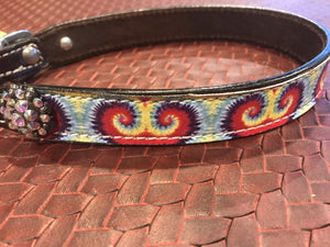 Showman Couture ™ Genuine leather dog collar with tie dye print. - KP Pet Supply