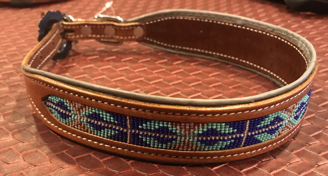 Showman Couture ™ Genuine leather dog collar with a royal blue beaded inlay - KP Pet Supply