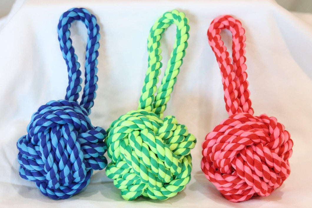 KP Pet Supply Twisted Large Knot Rope Dog Toy Rope Toy - Blue, Pink, and Green - KP Pet Supply