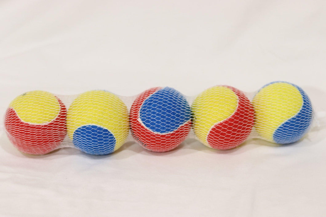 KP Pet Supply 5 Pack Colorful Fetch Tennis Balls Dog Toy - KP Pet Supply
