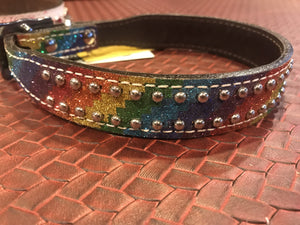 Showman Couture ™ Rainbow Glitter overlay leather dog collar. - KP Pet Supply