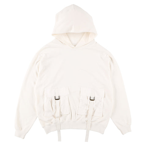 BIG POCKET HOODIE WHITE