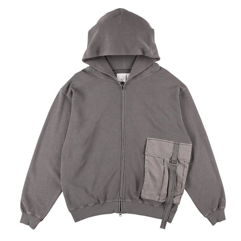 BIG POCKET ZIP-UP HOODIE GRAY