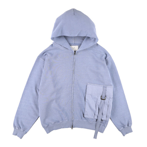 BIG POCKET ZIP-UP HOODIE BLUE
