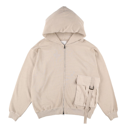 BIG POCKET ZIP-UP HOODIE BEIGE