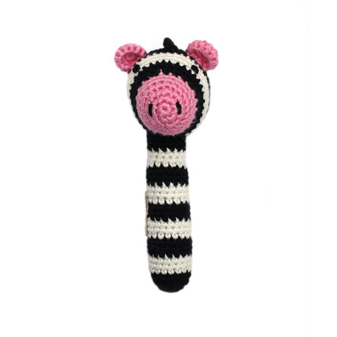 Crocheted Zebra Stick Rattle
