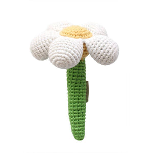 White Daisy Flower Stick Hand Crocheted Rattle